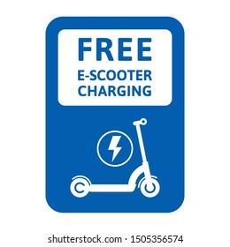Scooter charge. Traffic sign - free electric scooter charging. Vector illustration, flat design. Isolated on white background.
