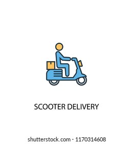 scooter delivery concept 2 colored line icon. Simple yellow and blue element illustration. scooter delivery concept outline symbol design from Delivery set