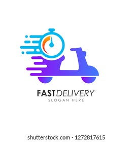 Scooter fast delivery logo design. courier logo design template icon vector