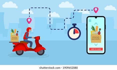 Scooter with food delivery. Fast courier.  Smartphone with Mobile App for Delivery Tracking. Flat Isometric Vector Illustration.