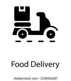 A scooter having attached box behind characterizing food delivery