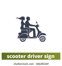 Scooter icon: couple vector sign.
