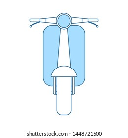 Scooter Icon. Thin Line With Blue Fill Design. Vector Illustration.