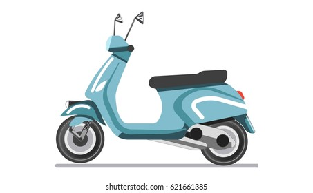 Scooter light two-wheeled open motor vehicle isolated on white
