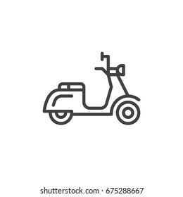 Scooter line icon, outline vector sign, linear style pictogram isolated on white. Delivery symbol, logo illustration. Editable stroke. Pixel perfect graphics