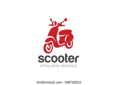 Scooter Logo design silhouette vector template. Motorbike shop store Logotype concept icon.