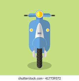 Scooter, moped frontal, flat vector illustration