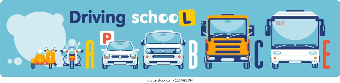 The scooter, the motorcycle, the car, microbus, the auto truck, the bus stand in a row, showing categories of training of drivers in driving school.