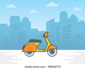 Scooter motorcycle on city background. Vector illustration of city landscape with scooter. town vector illustration - Shutterstock ID 788960779