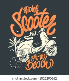 Scooter on the beach, hand drawn illustration, t-shirt print.
