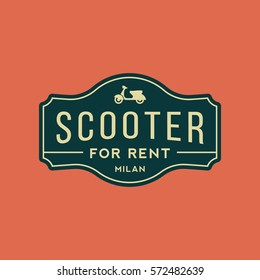scooter rental emblem. motorbike for rent logo. vector illustration