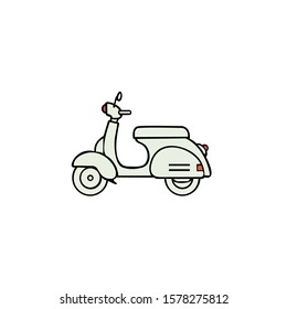 Scooter. Retro transport. Thin line black vespa icon, flat vector simple element illustration from editable transportation concept isolated on white background