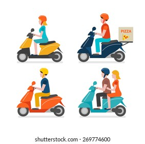 Scooter riding icons set isolated on white background. Young man and woman riding scooter, couple dating, courier delivering pizza, vector illustration in modern flat design style