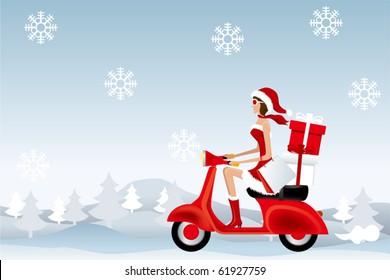 Scooter Santa Girl. Illustration vector.