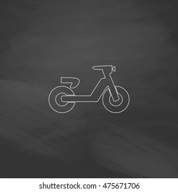 Scooter Simple line vector button. Imitation draw with white chalk on blackboard. Flat Pictogram and School board background. Outine illustration icon