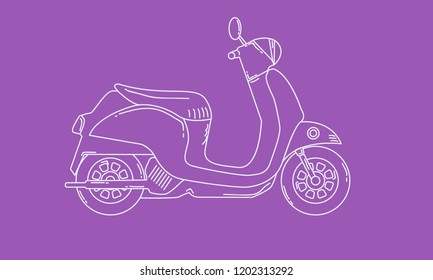 Scooter with sketch style. Retro vintage motorcycle. Vector hand drawn illustration.