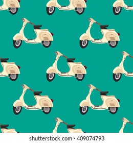 Scooter vector. Pattern with motorroller. Italy style
