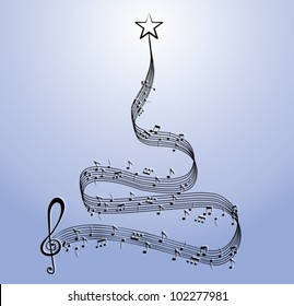 Score christmas tree, vector illustration