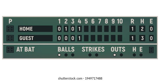 Scoreboard of baseball sport game vector template. Score board of championship tournament match, stadium equipment with inning frames, home run, balls, strikes and outs, play time and countdown timers