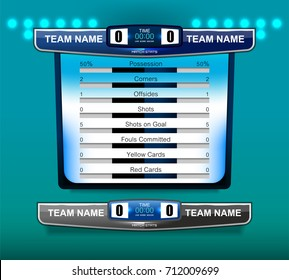 Scoreboard Broadcast Graphic and Lower Third Template for soccer and football, vector illustration