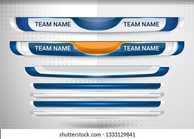 Scoreboard Broadcast Graphic and Lower Thirds Template for sport soccer and football, vector illustration