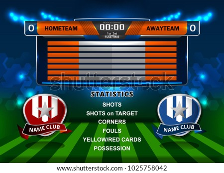 Scoreboard Broadcast Graphic And Lower Thirds Template For Soccer Football Vector Illustration
