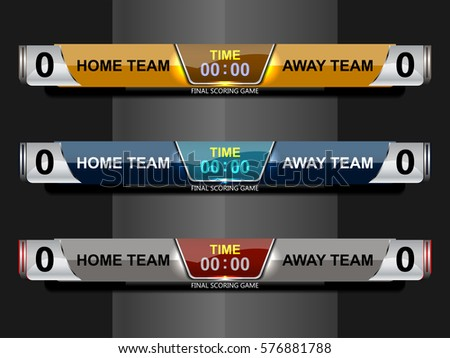 scoreboard broadcast graphic lower thirds template stock vector