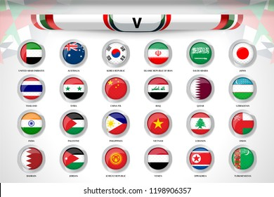 Scoreboard Broadcast and Lower Thirds Template for Asian soccer tournament championship with national flag of asia, Vector Illustration