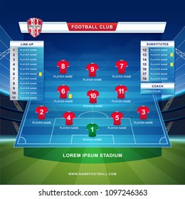 scoreboard broadcast starting line up template for sport soccer and football league or world championship tournament and stadium background vector illustration