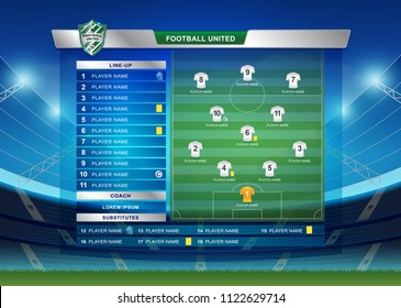 Scoreboard Broadcast Starting Line Up Template For Sport Soccer And Football League Or World Tournament
