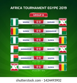 Scoreboard broadcast template for sport soccer africa tournament 2019 Group B and football championship in egypt vector illustration