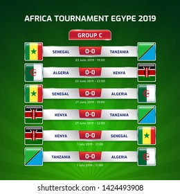 Scoreboard broadcast template for sport soccer africa tournament 2019 Group C and football championship in egypt vector illustration