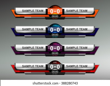 scoreboard design elements for sport, vector illustration