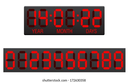 scoreboard digital countdown timer vector illustration isolated on white background