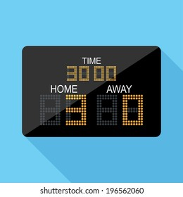 Scoreboard icon. Flat design style modern vector illustration. Isolated on stylish color background. Flat long shadow icon. Elements in flat design.