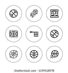 Scoreboard icon set. collection of 9 outline scoreboard icons with basketball, offside icons. editable icons.