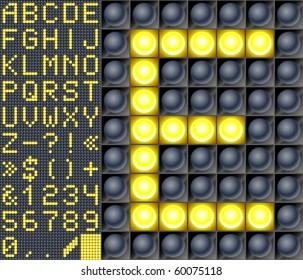 Scoreboard lamp alphabet