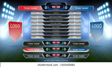 Scoreboard and Lower thirds template, Sport soccer and football match team A vs team B, Strategy broadcast graphic for presentation score or game results display (EPS10 vector fully editable)