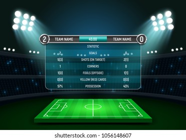 Scoreboard and soccer field illuminated by spotlights. Football scoreboard with time and result display on a stadium background. Sport template for your design. Vector illustration.