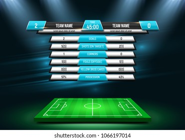 Scoreboard and soccer field illuminated by spotlights. Football scoreboard with time and result display. Sport template for your design. Vector illustration.