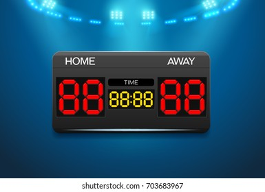 Scoreboard with time result display and spotlight vector illustration