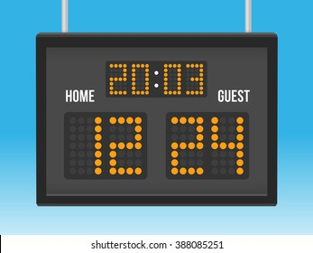 Scoreboard with time and result display vector illustration