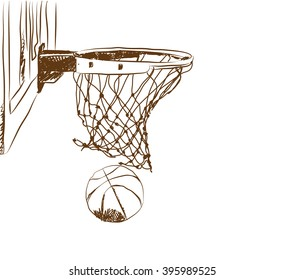 Scoring the winning points at a basketball game in vector sketch on isolated white background.