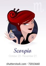Scorpio  astrological sign. Vector illustration