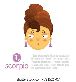 Scorpio cute zodiac sign illustration - cartoon style girl with hair like scorpion tail - horoscope symbol isolated on white with sample text