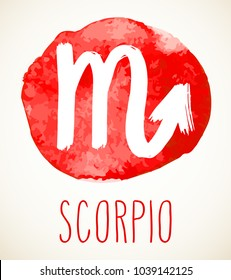 Scorpio hand drawn Zodiac sign illustration over red watercolor circle. Vector graphic astrology symbol design element isolated over white.