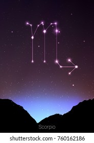 Scorpio zodiac constellations sign with forest landscape silhouette on beautiful starry sky with galaxy and space behind. Scorpio horoscope symbol constellation on deep cosmos background. Card design