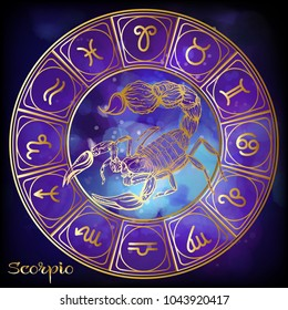 Scorpio Zodiac sign. Astrological horoscope collection. Gold on ultra violet space  background. Vector illustration