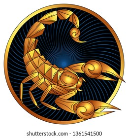 Scorpio zodiac sign of gold, astrological icon, horoscope symbol. Stylized graphic golden scorpion with gilded raised up sting and pincers, ready to attack. Gilt portrait scorpio in circle. Vector art