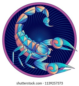 Scorpio zodiac sign, horoscope symbol. Futuristic style icon. Stylized graphic blue scorpion with raised up sting and pincers, ready to attack. Portrait scorpio in circle. Vector illustration.
